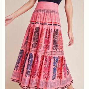 Anthropologie Auberte Poplin Tiered Midi Skirt